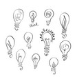 set of light bulb icons with concept of vector image