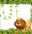 A lion king and the leafy frame vector image