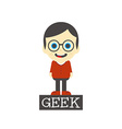 geek boy cartoon vector image