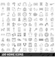 100 home icons set outline style vector image vector image