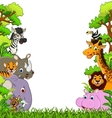 animal cartoon with tropical forest background vector image vector image