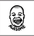 bald head man with terrible toothless smile vector image vector image