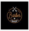 barber shop logo round linear logo barber vector image vector image