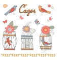 Beautiful collection of bird cages and little vector image vector image