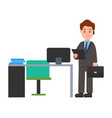 businessman and briefcase vector image