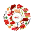 Butcher shop meat or butchery poster vector image vector image