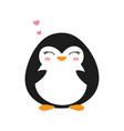 cartoon penguin isolated cute valentine card vector image vector image