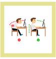 correct sitting posture vector image