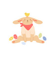 cute bunny sitting with painted easter eggs funny vector image
