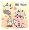 Cute Cartoon Baby and giraffe vector image vector image