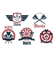darts game sporting emblems and icons vector image vector image