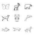 dolphin icons set outline style vector image vector image
