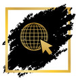 earth globe with cursor golden icon at vector image vector image