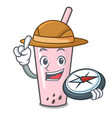 explorer raspberry bubble tea character cartoon vector image vector image