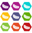 fashion woman belt icons set 9 vector image