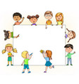 funny children hold and paint blank banner with vector image