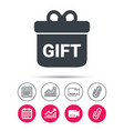 gift icon present box with bow sign vector image