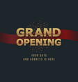 grand opening 3d gold word sign background vector image vector image