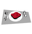half-roasted steak on a served table vector image