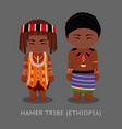 hamer tribe in traditional costume vector image vector image