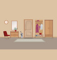 home hallway interior with door room view hall vector image vector image