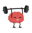 human brain cartoon lifting weights vector image vector image