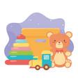 kids toys object amusing cartoon teddy bear vector image vector image