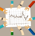 line chart team work on paper looking to graph vector image vector image