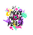 more music please lettering with funny symbols vector image vector image