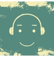 Music headphones smiley grunge vector image