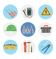 nine color flat icon set - electrical tools vector image