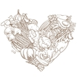 Outline hand drawn sketch of vegetable heart flat vector image vector image