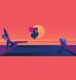oversized women enjoying sunset in pool flat vector image vector image