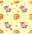 pattern with cartoon cute toy baby behemoth lion vector image vector image