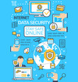 poster of internet data security technology vector image vector image