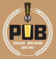 pub craft beer design vector image vector image