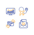 refresh website statistics and airplane icons set vector image vector image