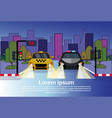 road traffic with police vehicle and taxi car at vector image