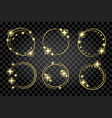 set golden circle stardust frame isolated vector image
