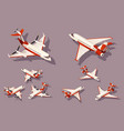 set medium and small airplane for transportation vector image vector image