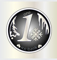 shiny silver round coin with snowflake winter vector image vector image