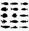 silhouettes of fish 3 vector image