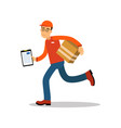 smiling delivery man running with cardbox courier vector image vector image