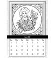 snow maiden coloring book page calendar july 2018 vector image vector image