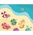 Summer beach in flat design aerial view sea side vector image vector image