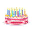 sweet birthday cake with candles vector image vector image