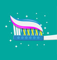 toothbrush toothpaste flat style vector image vector image
