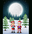 two kids in santa claus holding a gift box with wi vector image vector image