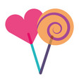two round lollipop and heart shape vector image vector image