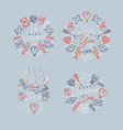 valentines day flat monograms gray vector image vector image